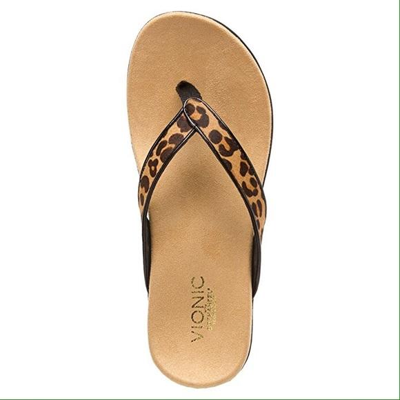 49af2b21f54c0 Vionic orthaheel leopard flip flops