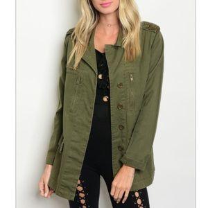 Olive military style jacket, various sizes