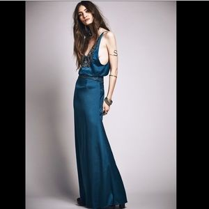 Free People X Candela Satin  Beaded Jaded Gown 2