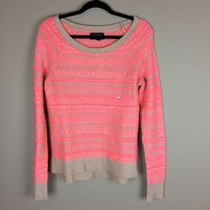 American Eagle tan and pink sweater