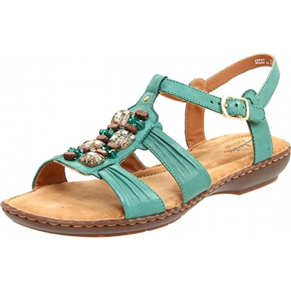 bdeb7ae74b1a Clarks Shoes - CLARKS BRISK ROSEBUD BLUE JEWELED SHOES SANDALS 11
