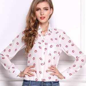 NEW Lips Lipstick Button Up Shirt Long Sleeves XL