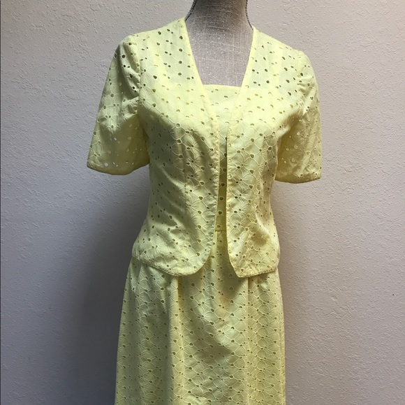 Vintage Dresses - Vintage Givenchy Eyelet Sun Dress Yellow