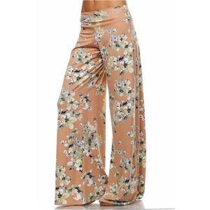 Peach Floral Wide Leg Lounge Pants