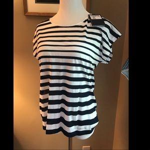 Paul & Shark Navy/White Striped Ladies Tee Sz M
