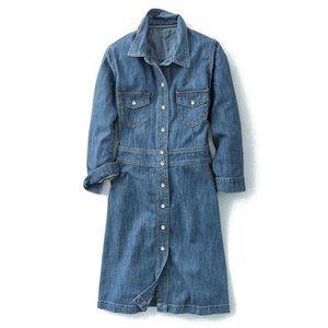 Boden Button Down Denim Dress Size 6