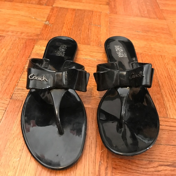 4d03a4475f6d33 Coach Shoes - Coach black jelly sandals with bow size 8