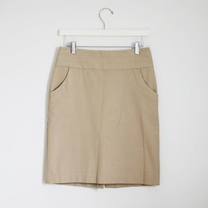 Banana Republic Khaki Brown Stretch Pencil Skirt 0