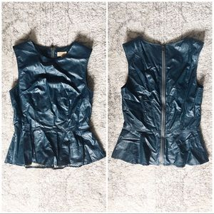 Piko 1988 for LF Faux Leather Blue Peplum Shirt S