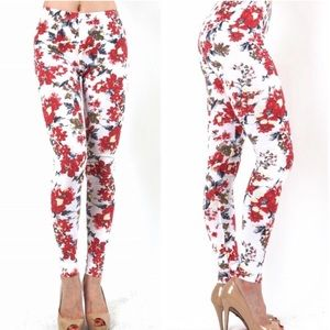 Pants - NEWFloral Leggings Small Woman's red white elegant