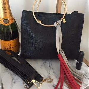 Handbags - Metal ring tote with additional tassel