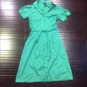 H&m green button down safari dress sz 8