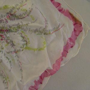 Fuschia  woodland SILK CHIFFON scarf - vintage