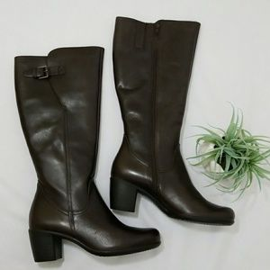 Ecco Tall Coffee Cafe Leather Boots Size 39 8-8.5