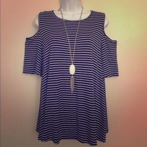 Ann Taylor Navy & White Striped Cold Shoulder Tee