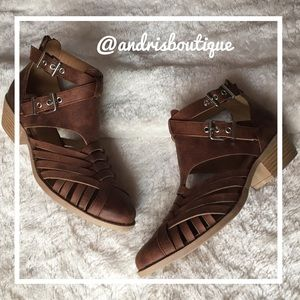Shoes - Low Heel Brown Buckle Bootie