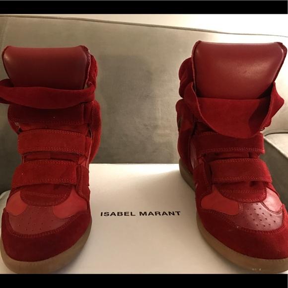 8f57172e76 Isabel Marant Shoes | Rare Red Bekett Wedge Sneakers 39 | Poshmark