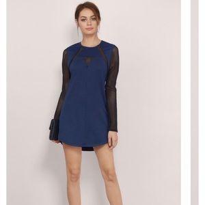 Tobi black and blue midi Mesh Dress