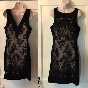 {Tracy Reese} black and nude Lace designer dress