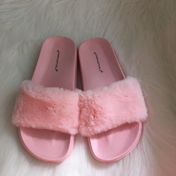 acadd03b617 Girls pink fuzzy slides! M 598f618ffbf6f92a2c0d8c87