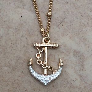 Two Tone Nautical Beach Anchor Pendant Necklace