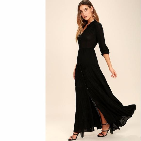 None Dresses Nightbird Black Long Sleeve Maxi Dress Lulus Poshmark