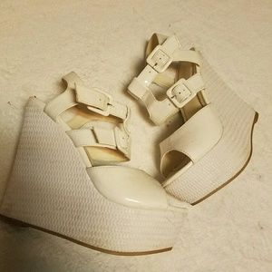 Shoes - White platform wedges