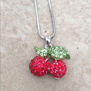 Silver Tone Red Green Crystal Cherries Pendant