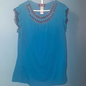 Te Amo Blue and Black Studded Ruffle Shirt Size 2X