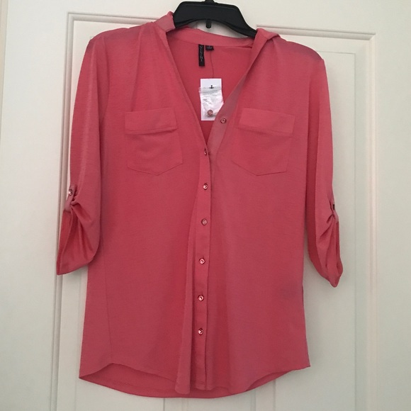NWT Small Coral Pink Button Up Shirt Blouse Veninj S from ...
