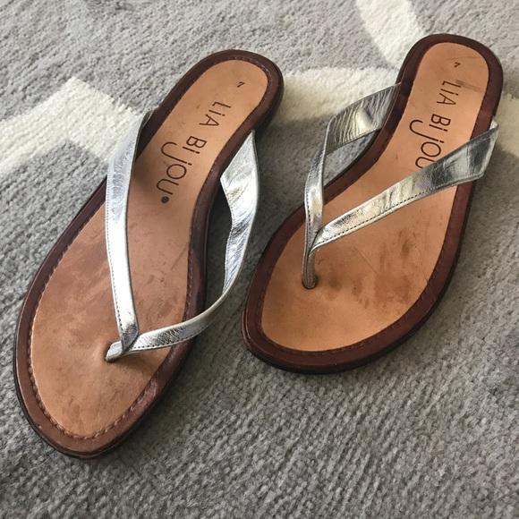 Lia Bijou Shoes - SALE Lia Bijou Silver Metallic Flip Flop Sandals 135f61a98ac7
