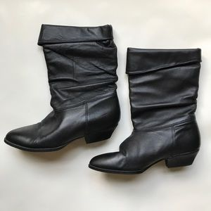 Shoes - NWOT Genuine Leather Heeled Boots In Black