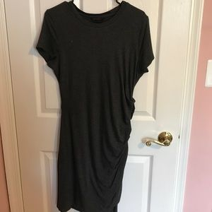 Gray Side Ruched Soft Jersey Dress