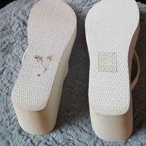 ea44a4f90e2 bebe Shoes - White bebe flip flops 4 inch heel size 7
