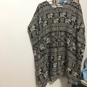 Drapey Brown Patterned Coverup