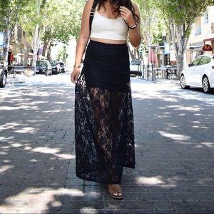 Nasty gal black lace skirt