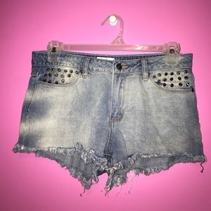Spiked jean shorts