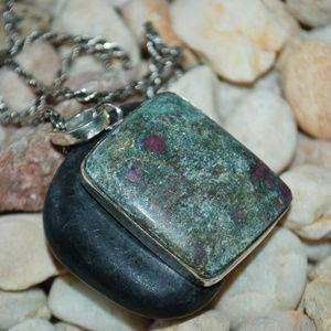 "Jewelry - Rose Garden Ruby Fuchsite Pendant 2"""