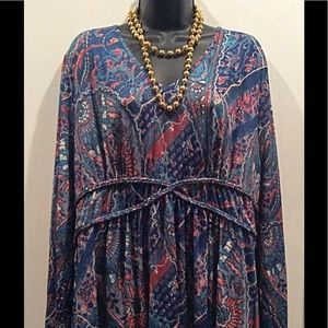 AVON  2X Paisley Top Blue Braid Detail NWT