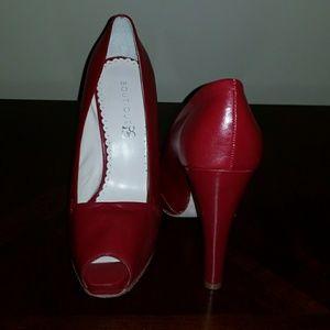 Red platform peep toe pumps