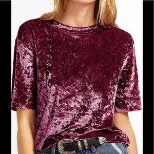 Tops - NWT Crushed velvet maroon tee shirt size M