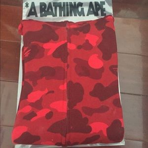 3abe24fdde23 Bape Sweaters - Bape Red Camo Man Full Zip Shark Hoodie S Small