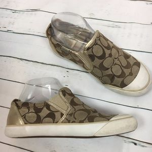 COACH Beale Signatue Canvas slip on tan sneakers