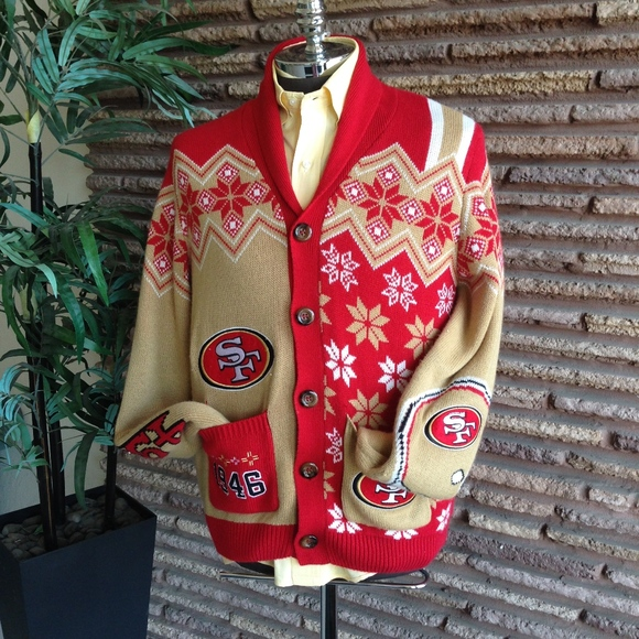 best service 639c6 42ab2 SF 49er Ugly Christmas Snowflake Cardigan Sweater