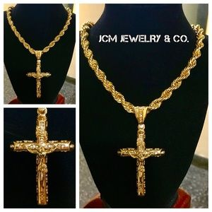 "Other - 14K Gold Plated Rope w/ 3.5"" Crucifix Medallion"