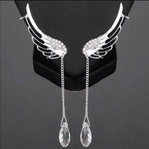 Jewelry - HOST PICK! Angel Wings Crystal Drop Ear Cuffs NWT