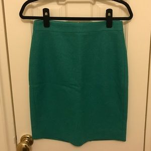 J. Crew wool pencil skirt in teal.