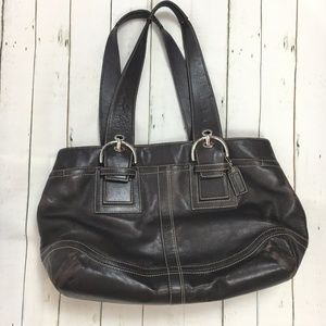 Coach Brown leather zippered tote shoulder bag