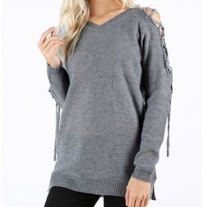 SALE🖤 soft knit lace up shoulder sweater gray
