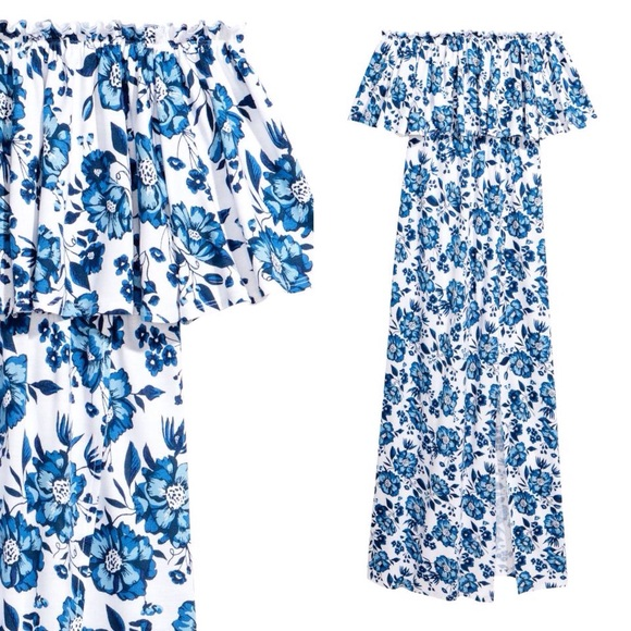 6ff7834e9722 H&M Dresses | Hm Divided Blue Floral Print White Maxi Dress | Poshmark
